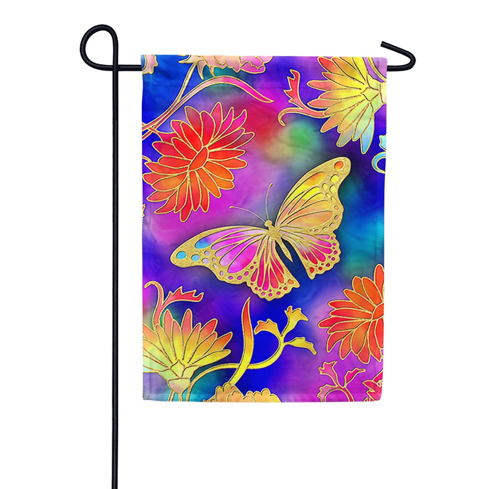 Glided Butterfly Garden Flag