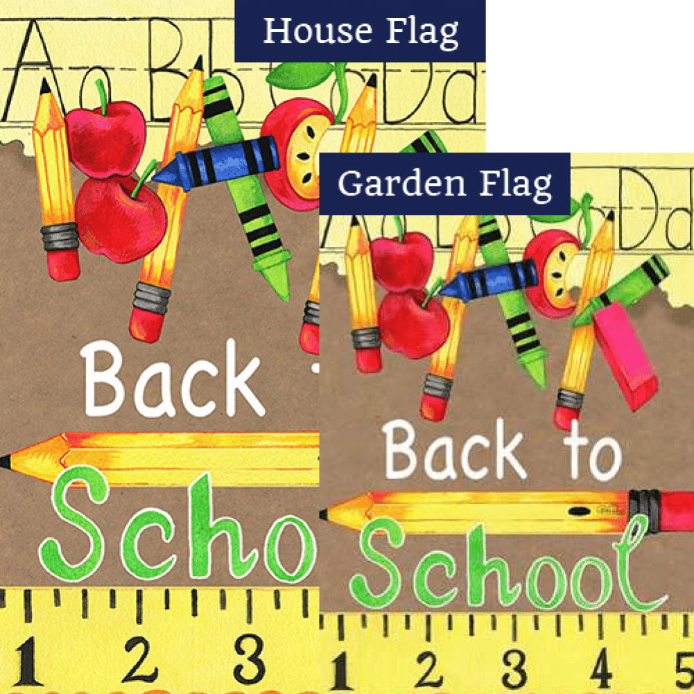 Back To School Supplies Flags Set (2 Pieces)
