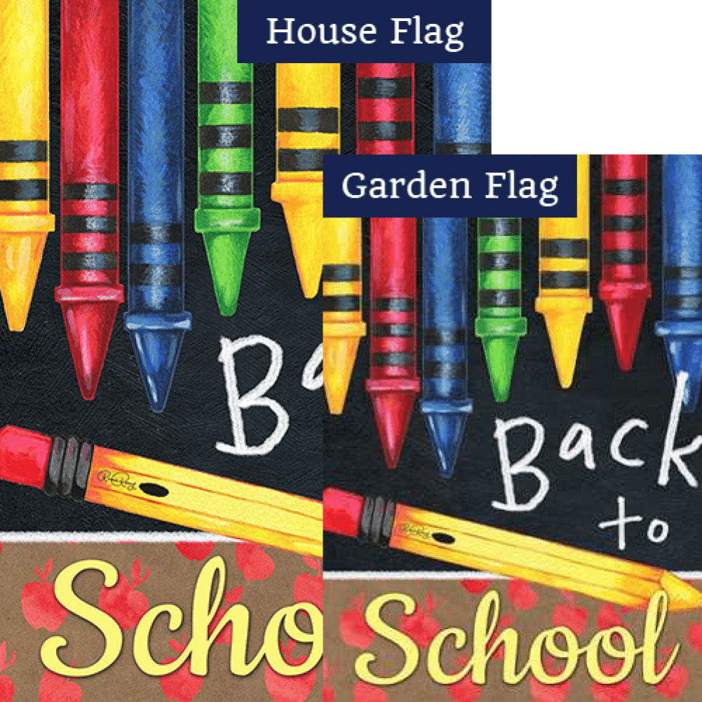 Back to School Crayons Flags Set (2 Pieces)