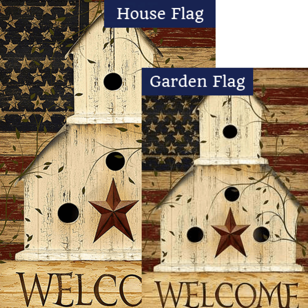 Americana Birdhouse Welcome Flags Set (2 Pieces)