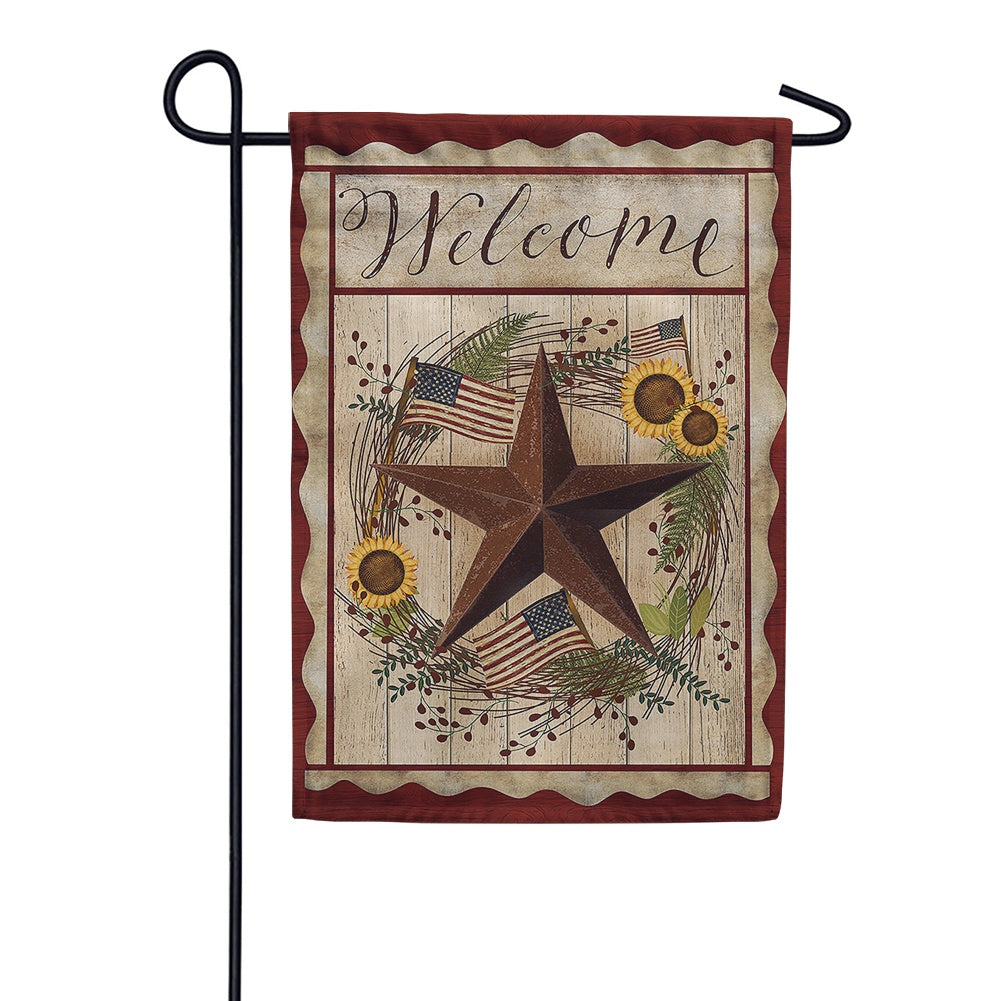 Barn Star Welcome Garden Flag