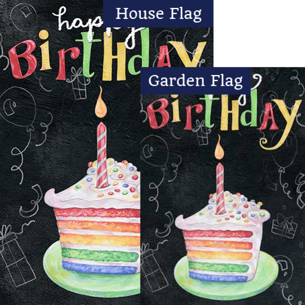Rainbow Cake Birthday Flags Set (2 Pieces)
