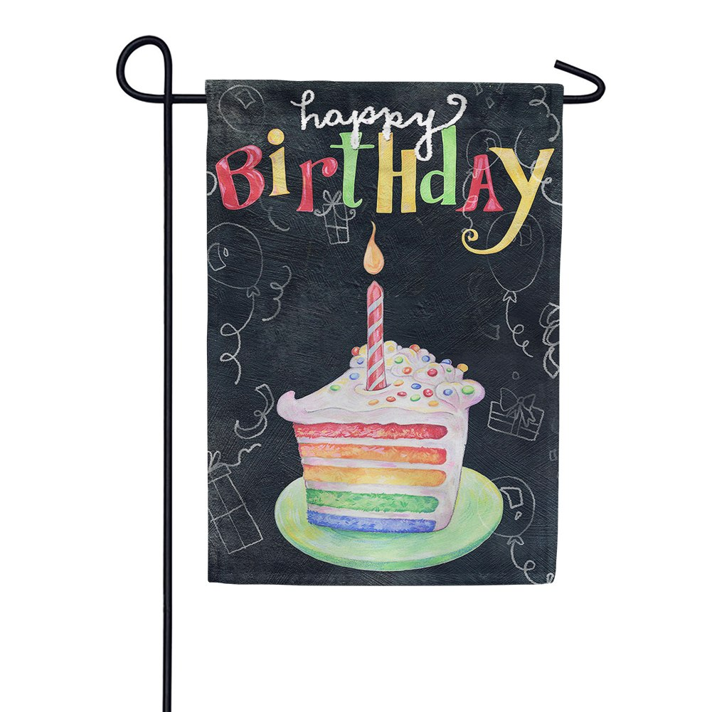 Rainbow Cake Birthday Garden Flag