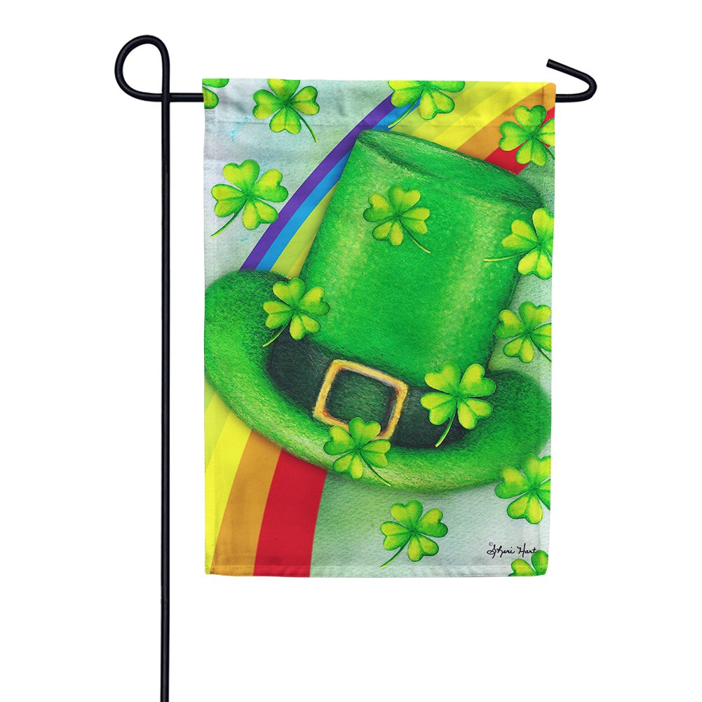 Leprechaun Hat Rainbow Garden Flag