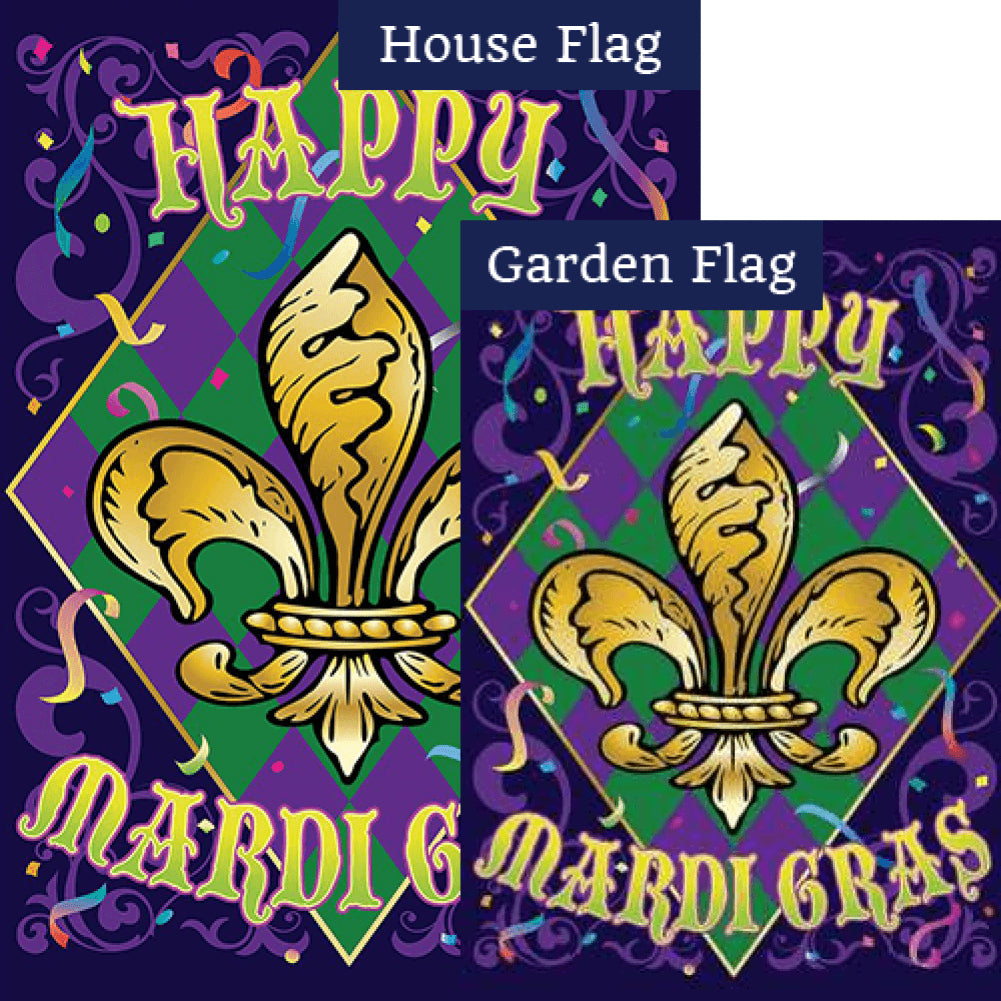 Mardi Gras Confetti Flags Set (2 Pieces)
