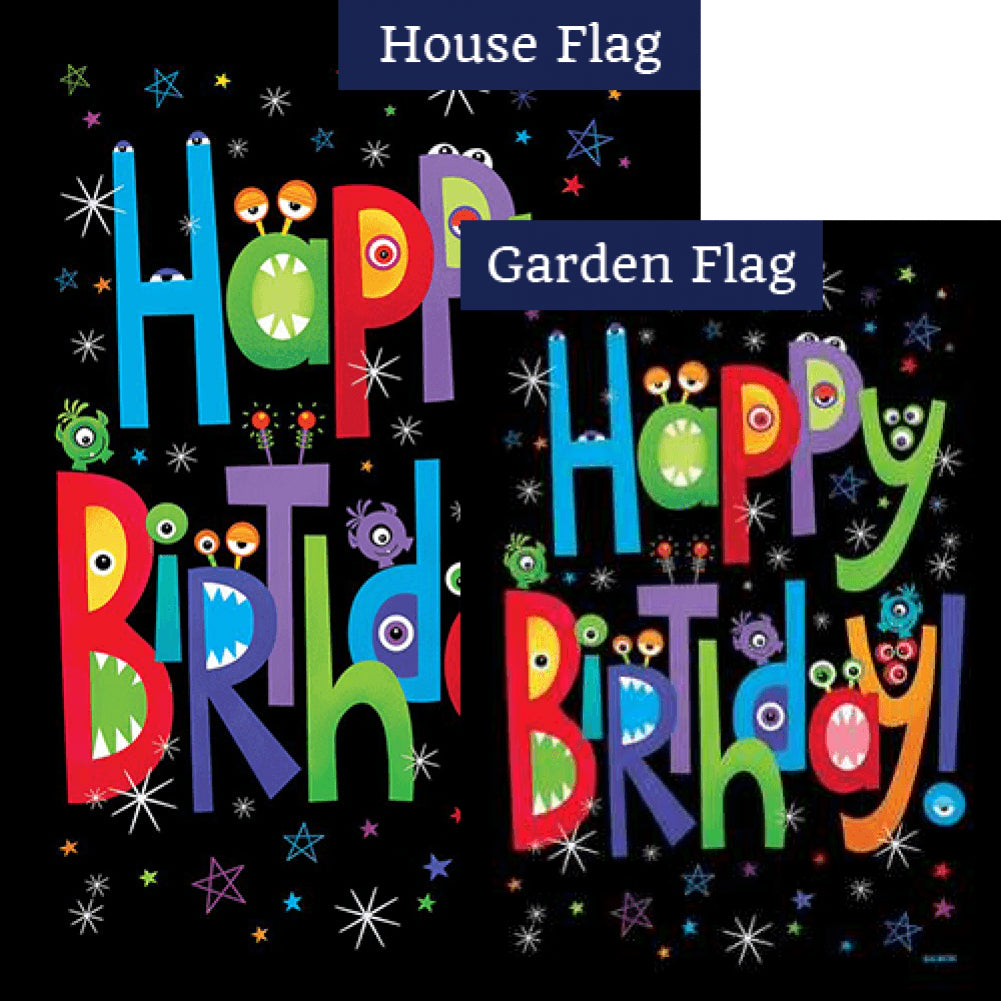 Monster Birthday Flags Set (2 Pieces)