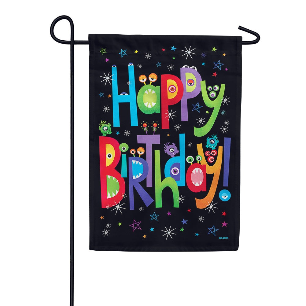 Monster Birthday Garden Flag