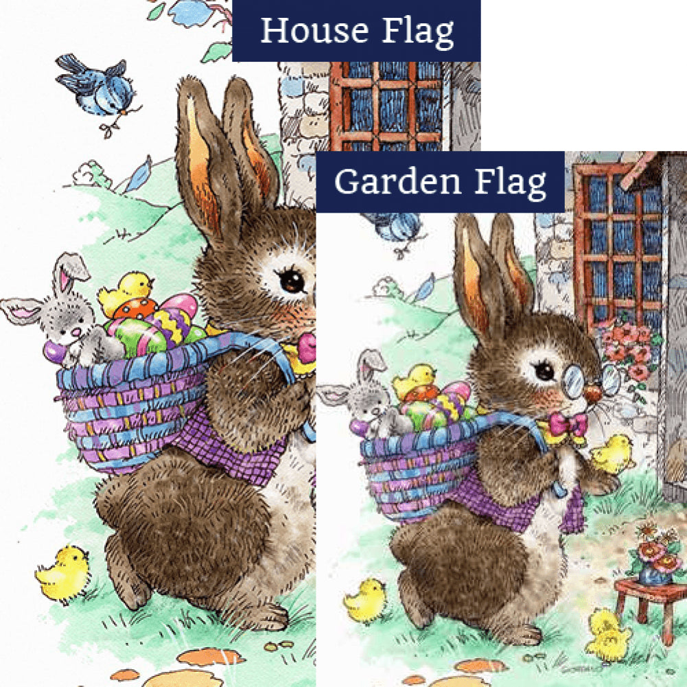 Vintage Easter Bunny Flags Set (2 Pieces)