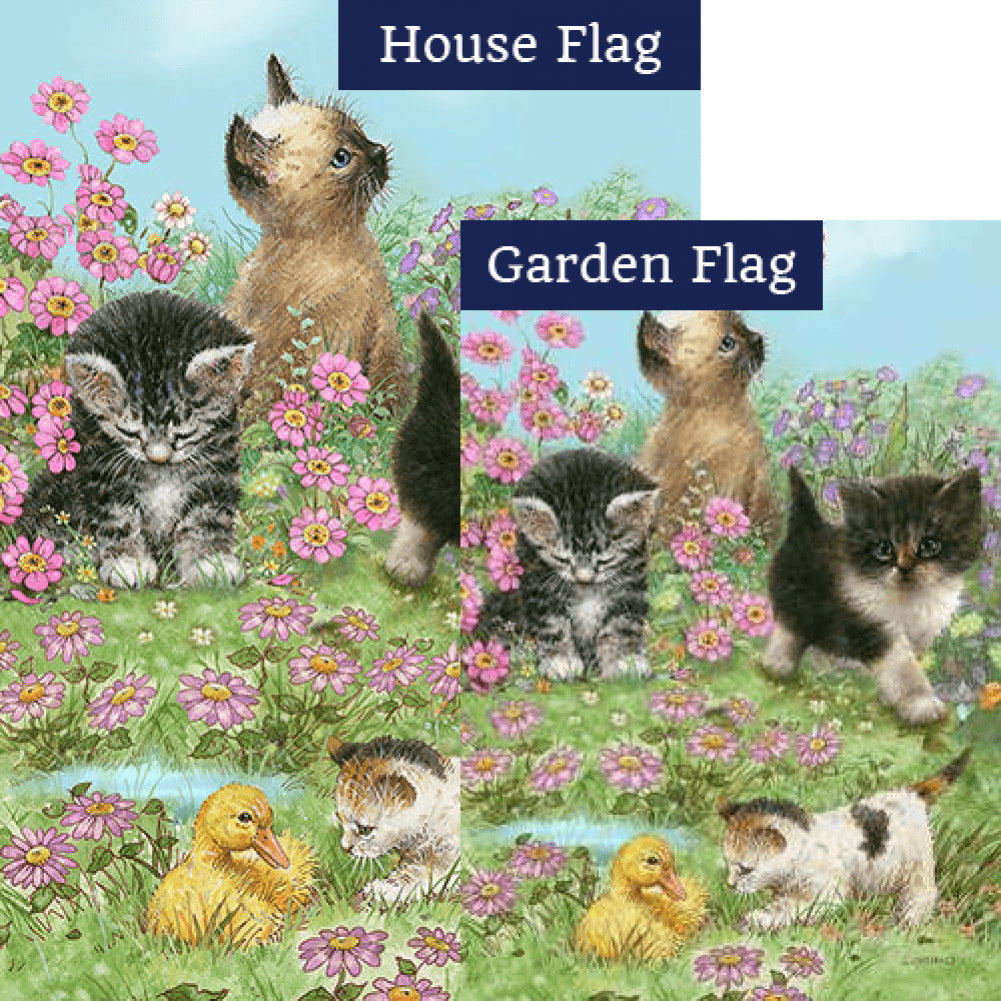 Flowers and Kittens Flags Set (2 Pieces)