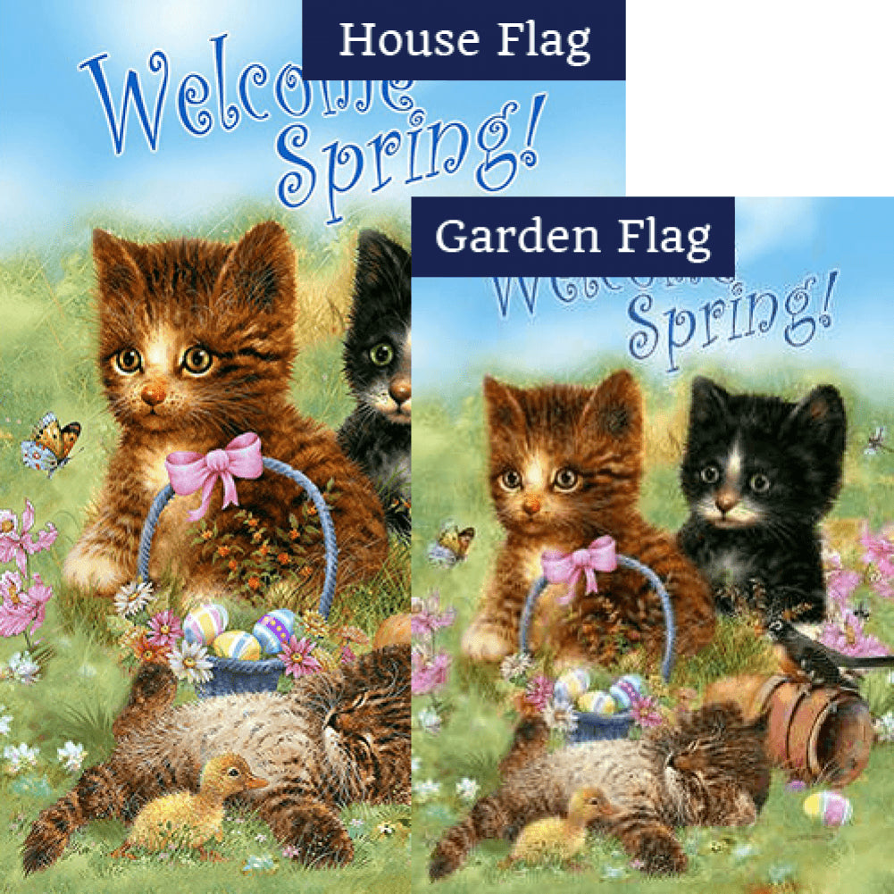 Welcome Spring Kittens Flags Set (2 Pieces)