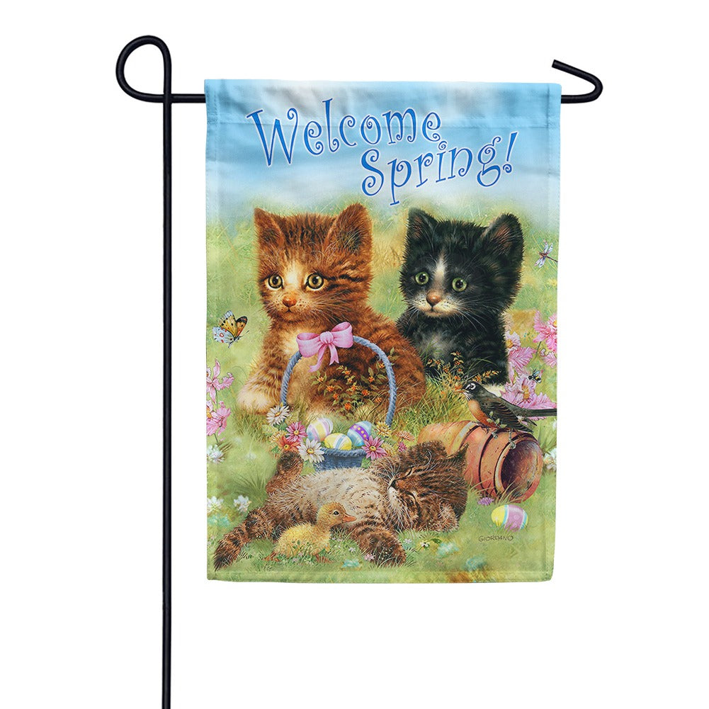 Welcome Spring Kittens Garden Flag