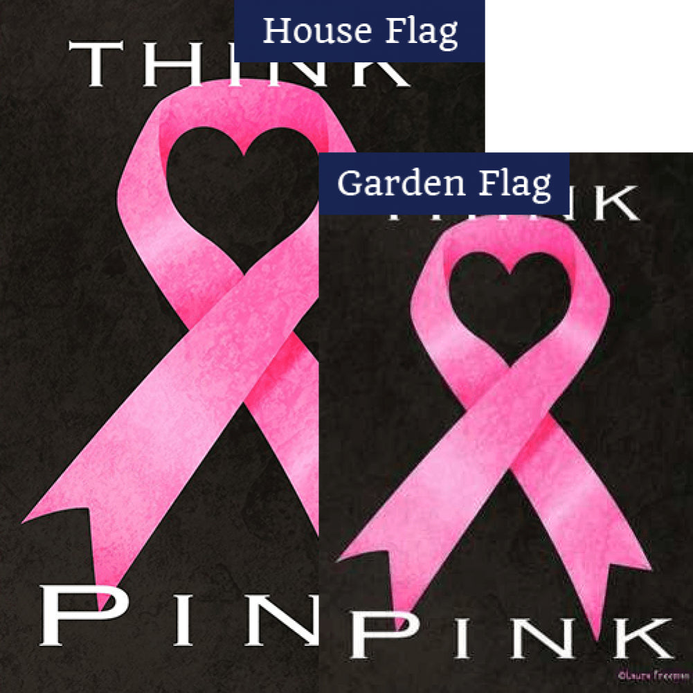 Think Pink Ribbon Flags Set (2 Pieces)