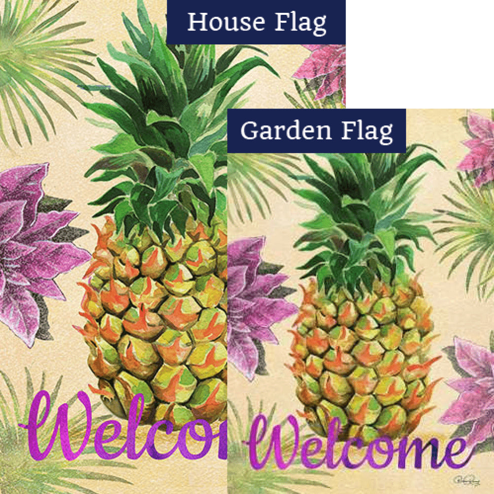 Welcome Floral Pineapple Flags Set (2 Pieces)