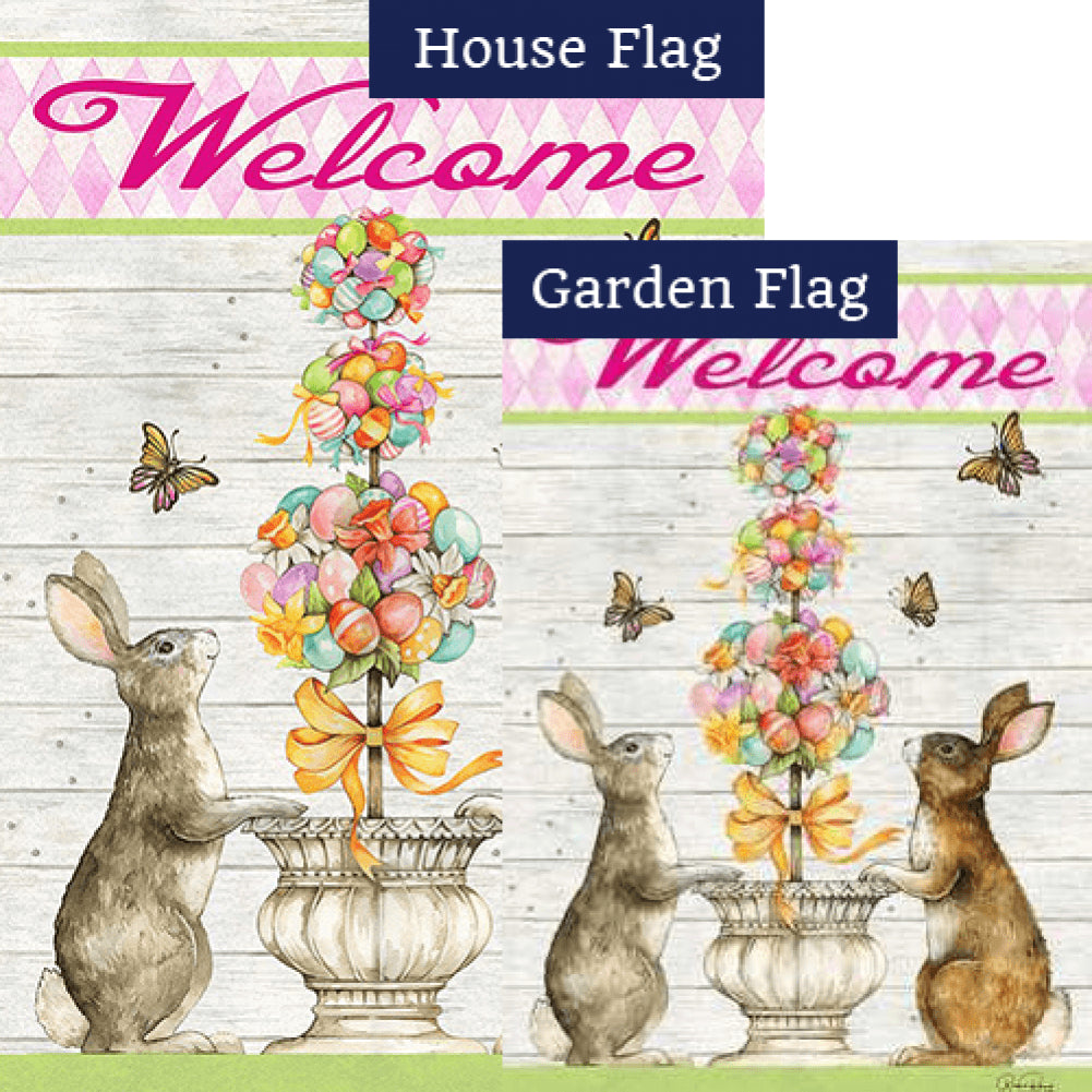 Easter Bunny Topiary Flags Set (2 Pieces)