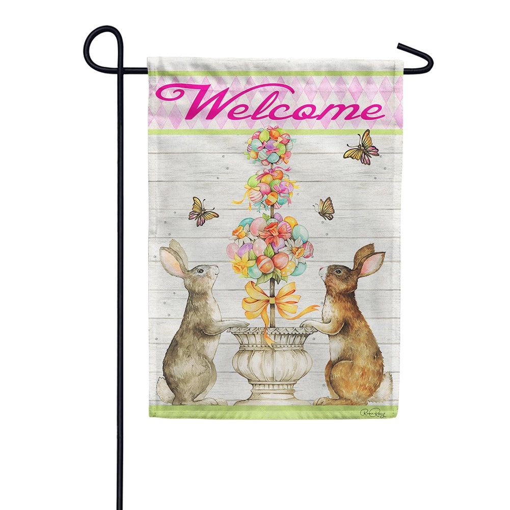 Easter Bunny Topiary Garden Flag