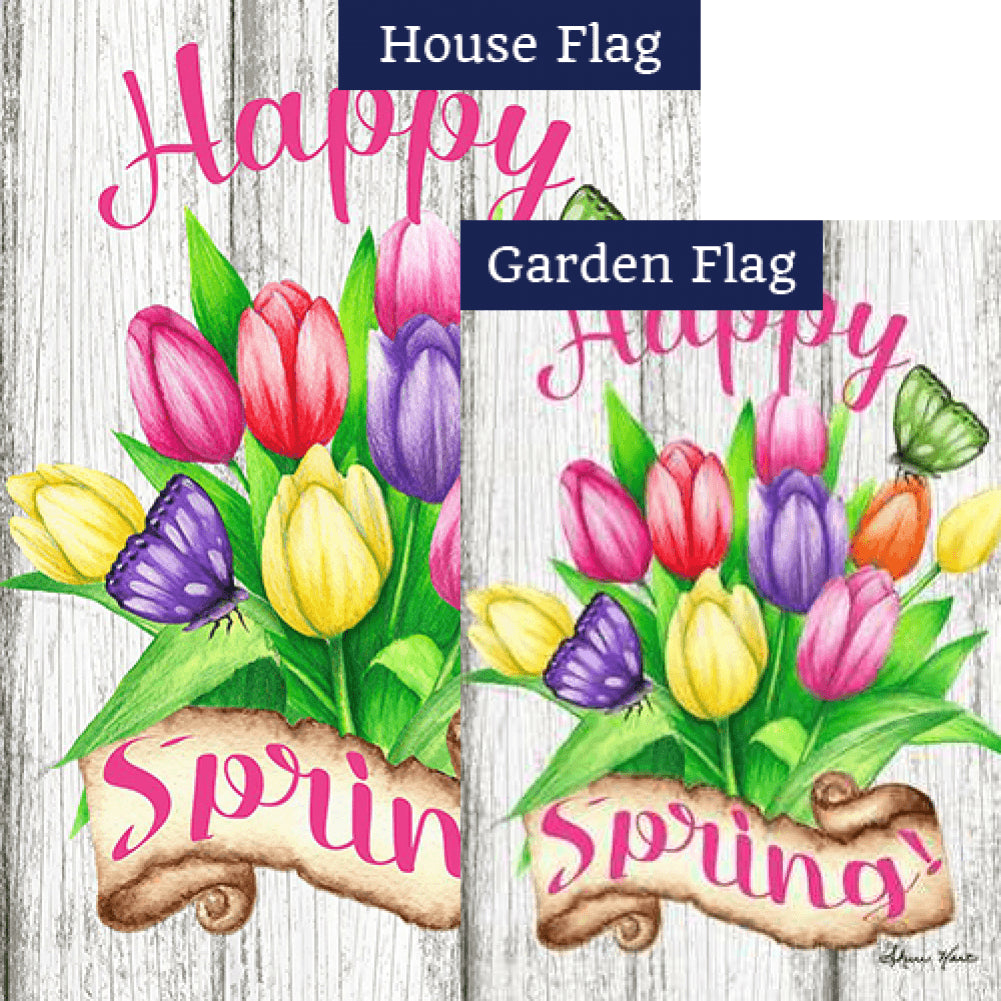 Spring Tulips Happy Flags Set (2 Pieces)