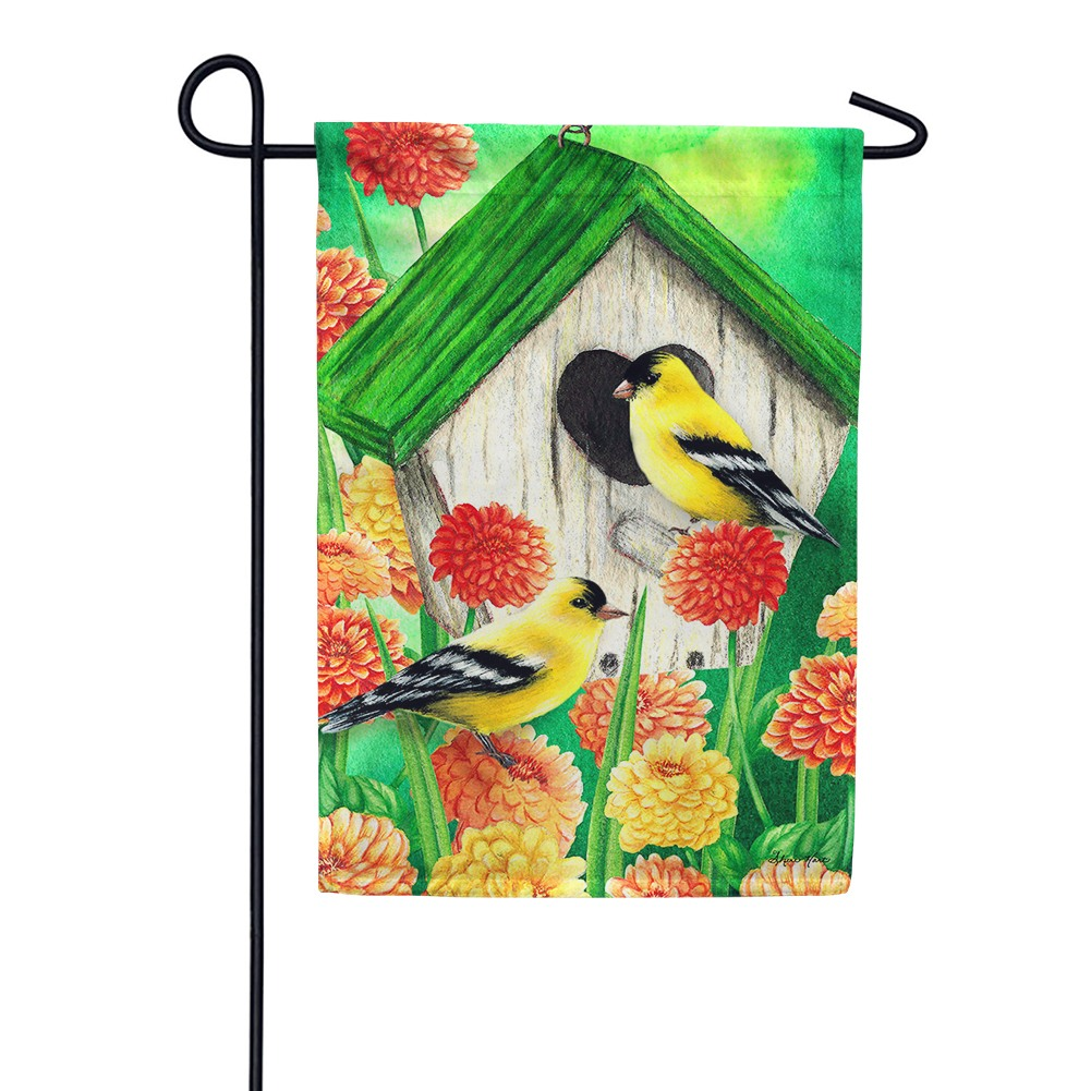 Goldfinch Birdhouse Garden Flag