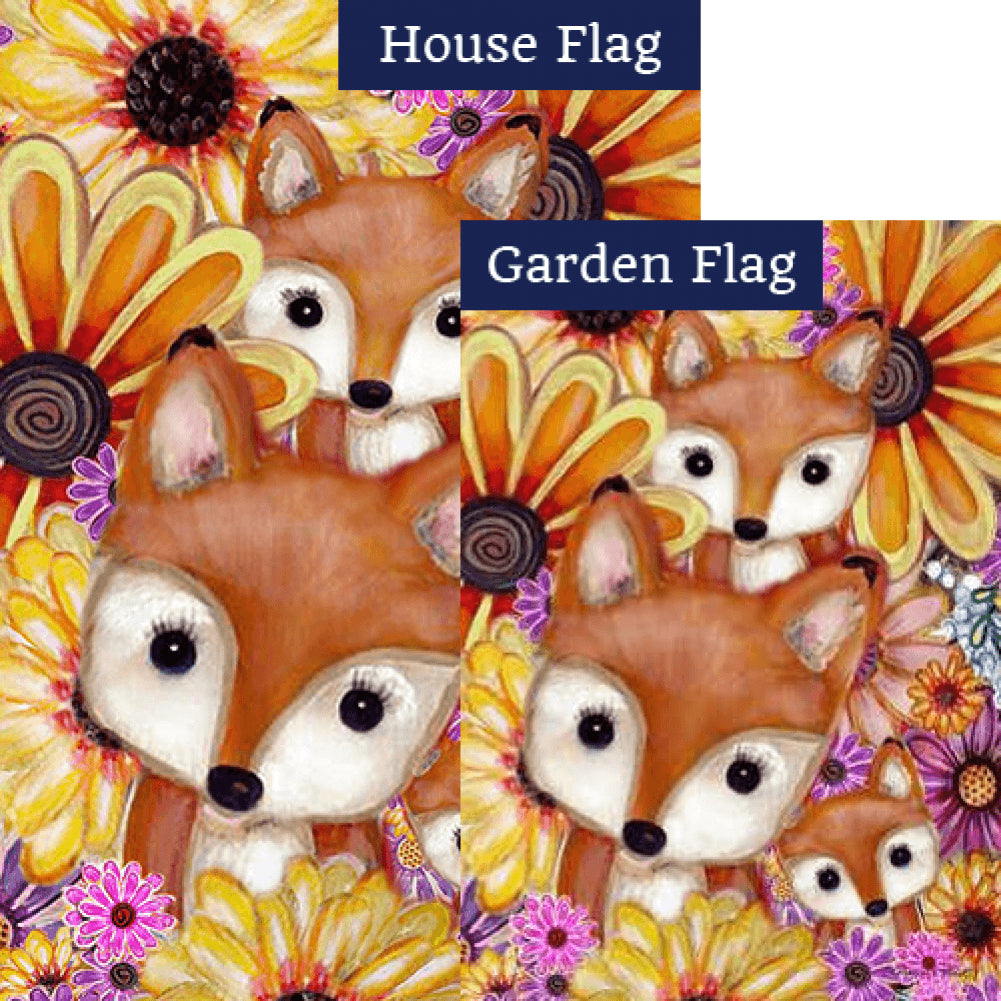 Fox Family Floral Flags Set (2 Pieces)