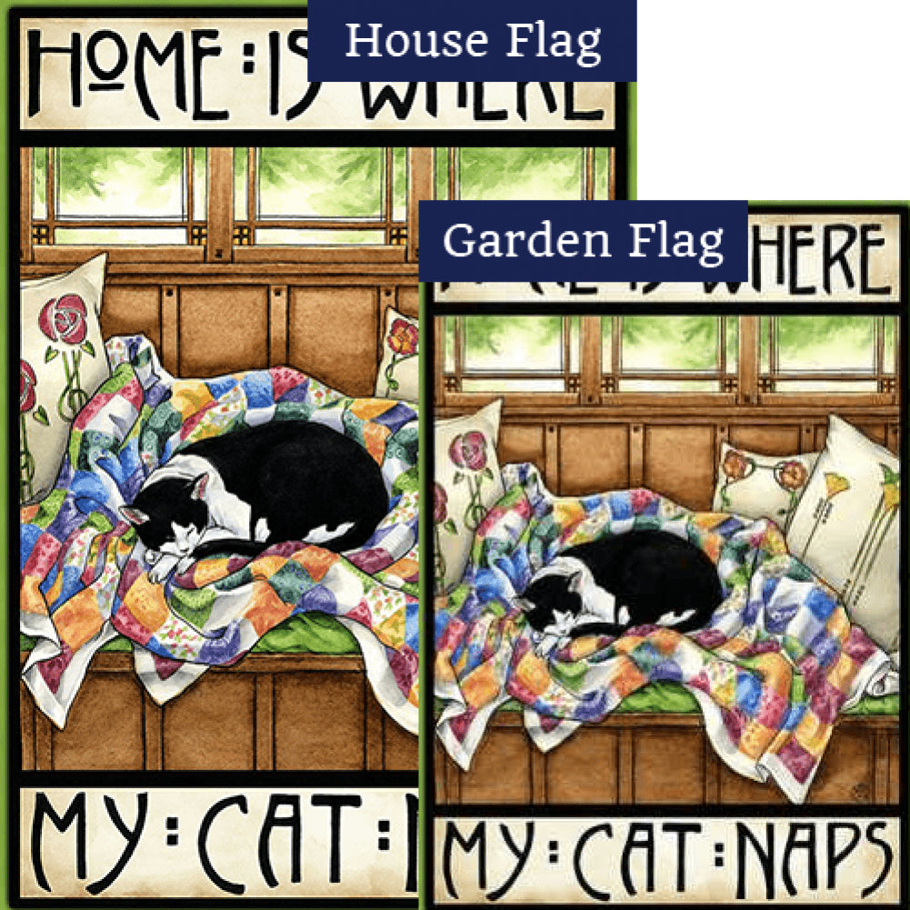 Home is Where my Cat Naps Flags Set (2 Pieces)