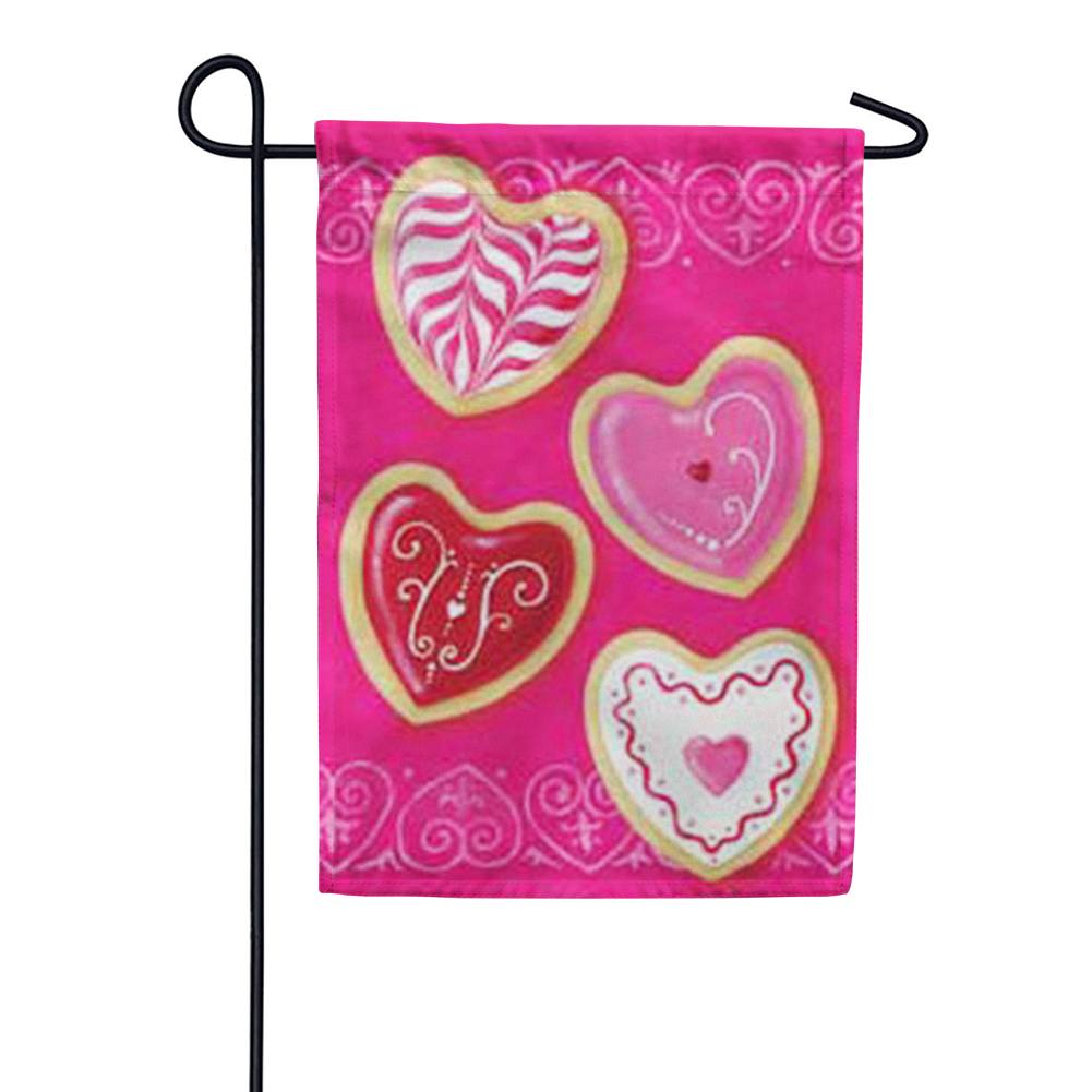 Heart Cookies Valentine's Day Garden Flag