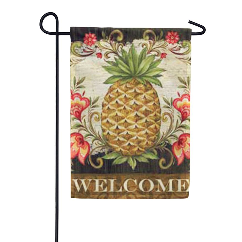 Pineapple & Scrolls Garden Flag