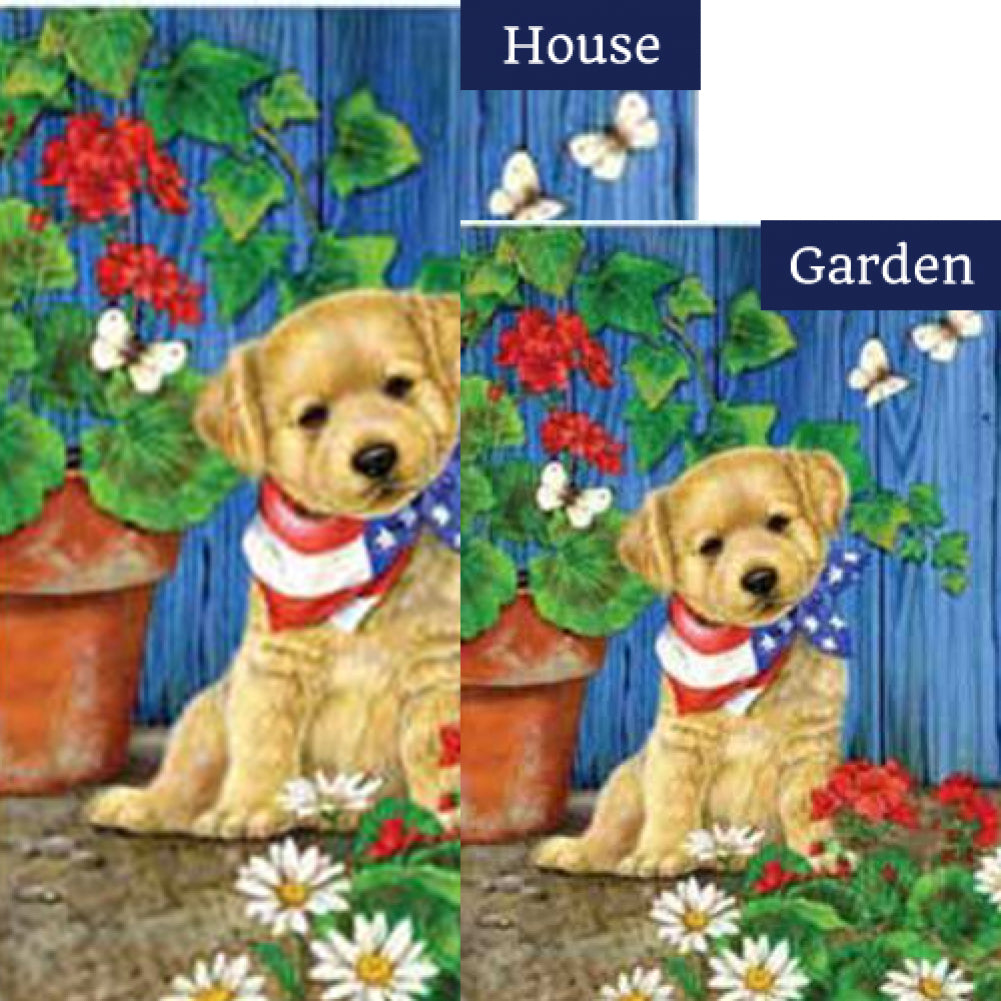 Patriotic Puppy Flags Set (2 Pieces)