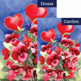 Toland Red Pansies Flags Set (2 Pieces)