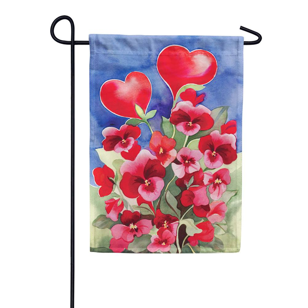 Toland Red Pansies Garden Flag