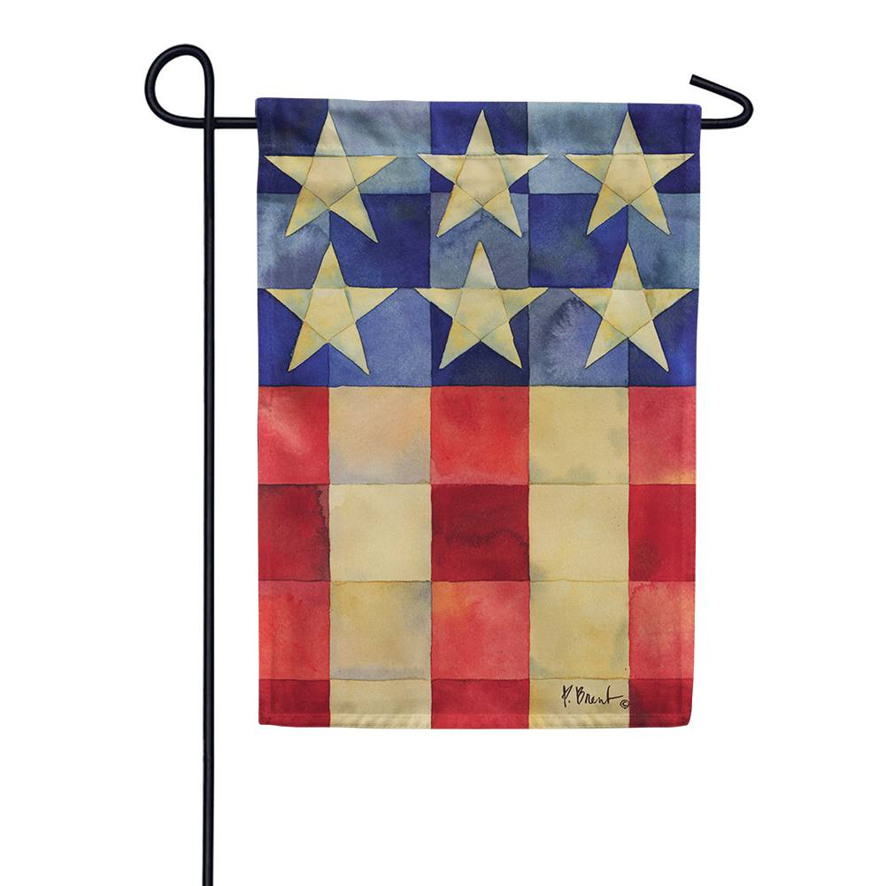 Stars And Stripes On Squares Garden Flag