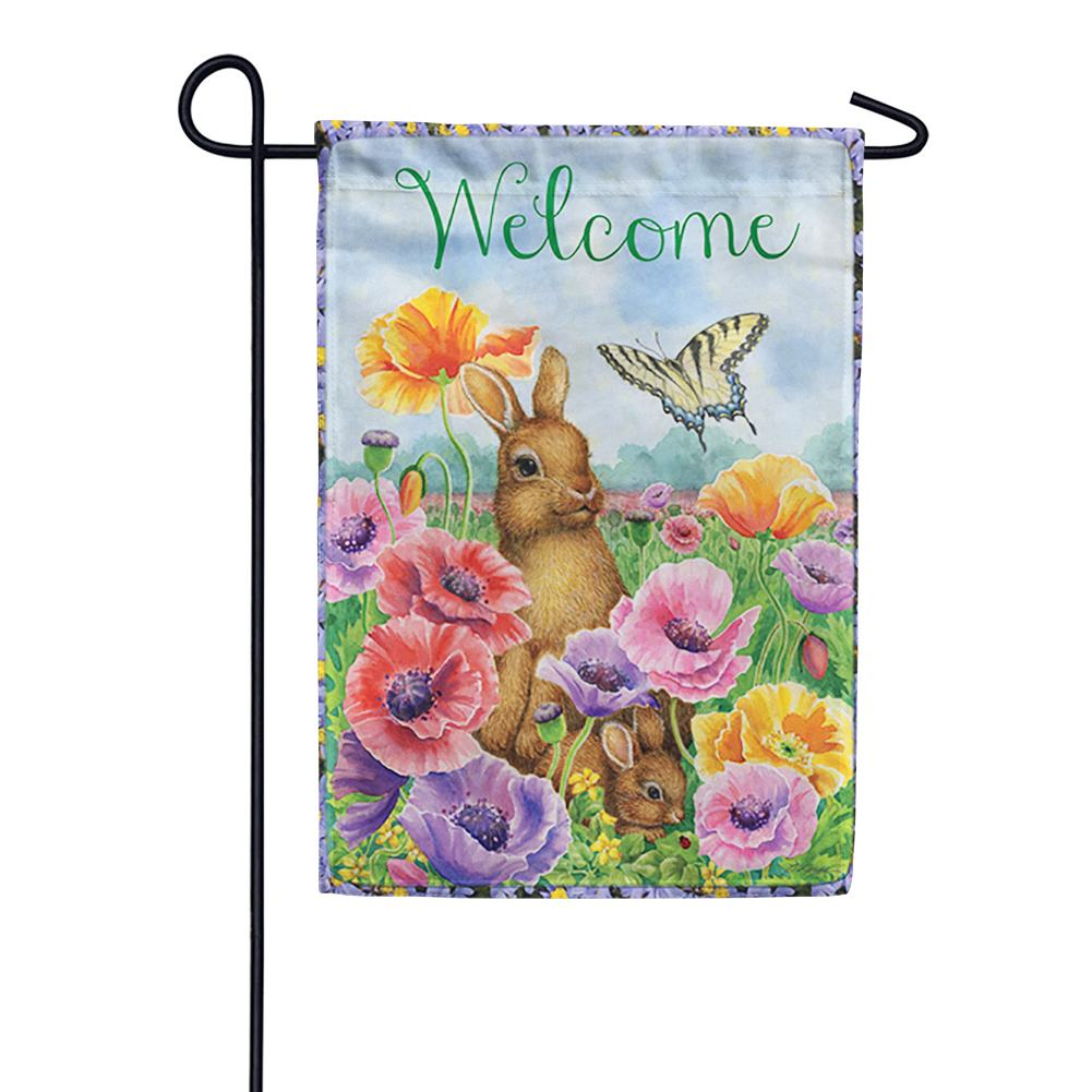Bunny Poppies Garden Flag