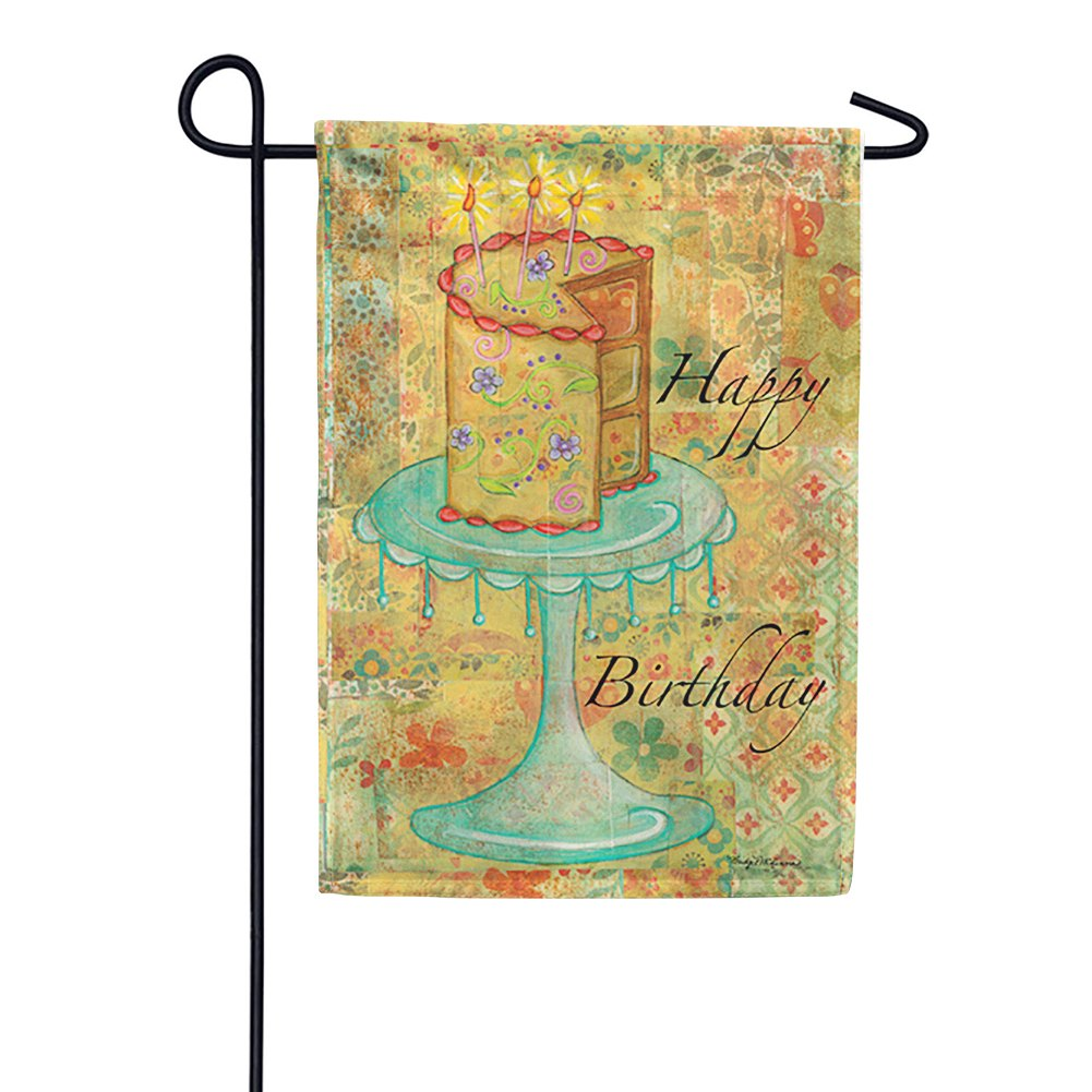 Patchwork Happy Birthday Cake Garden Flag