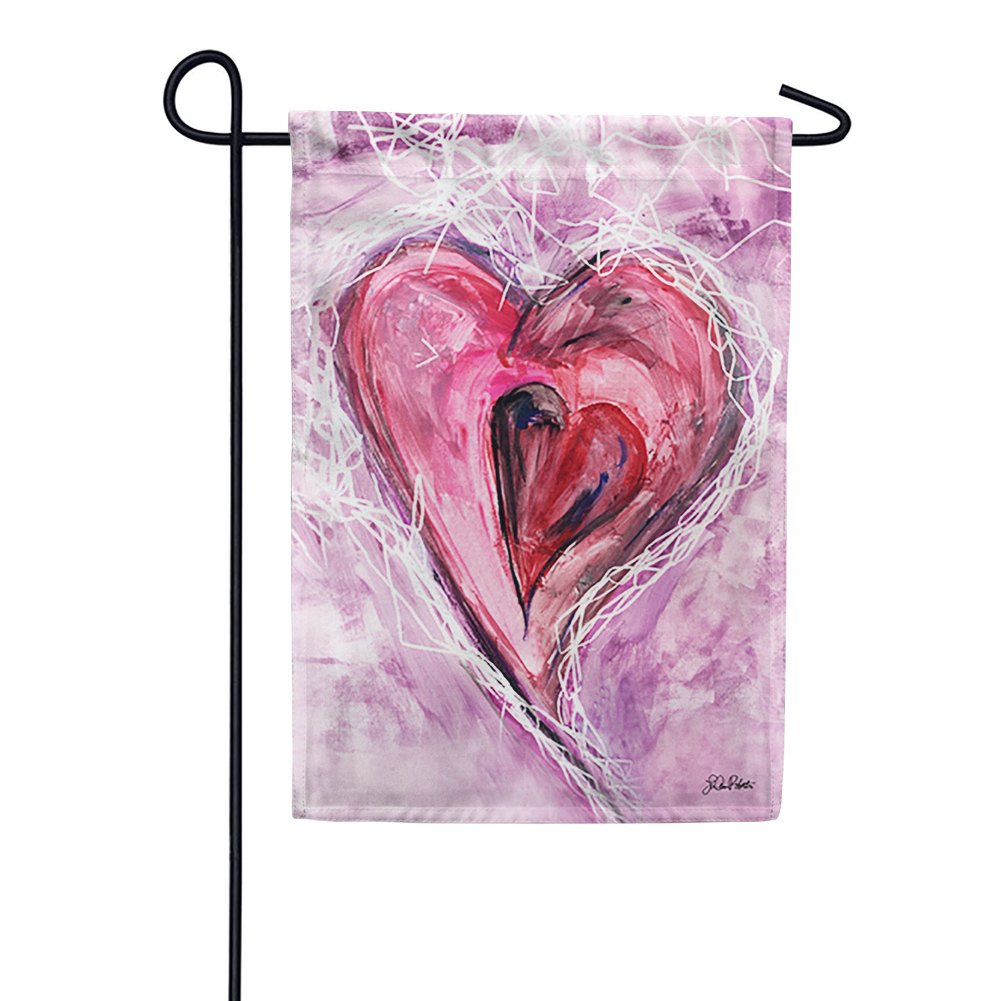 Watercolor Heart Garden Flag