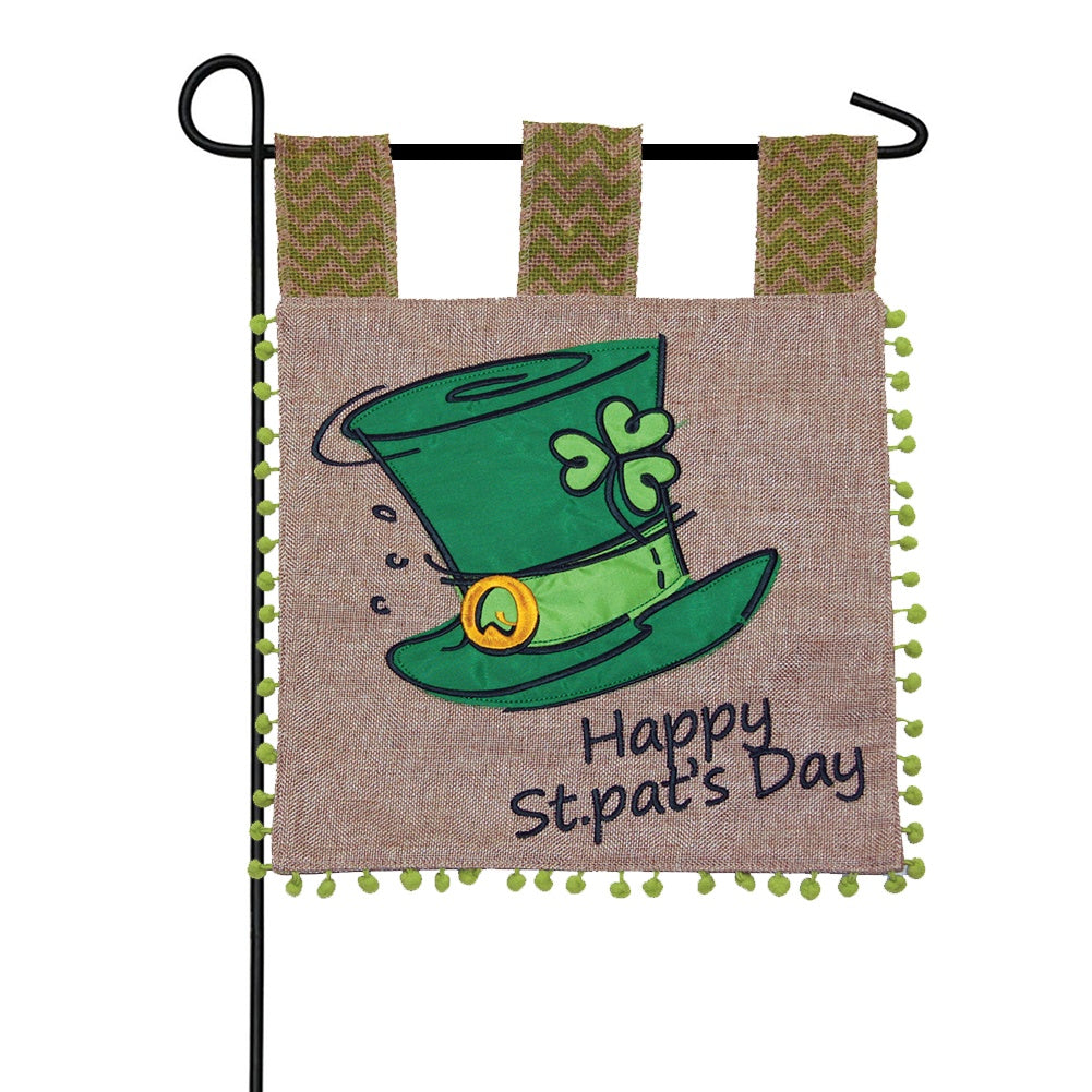 St. Pat Top Hat Burlap Garden Flag