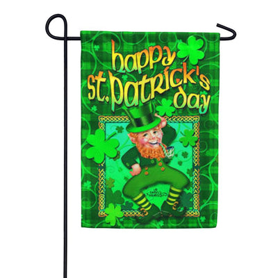 Happy Leprechaun Garden Flag