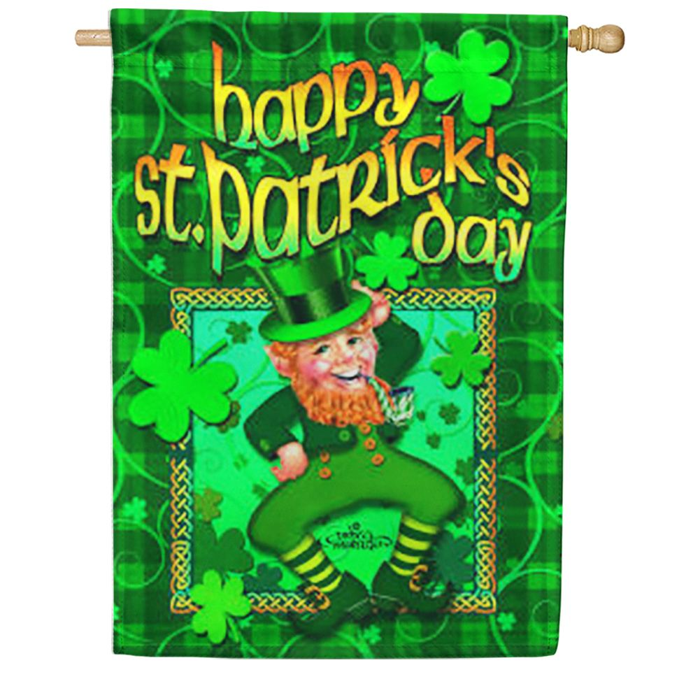 Happy Leprechaun House Flag