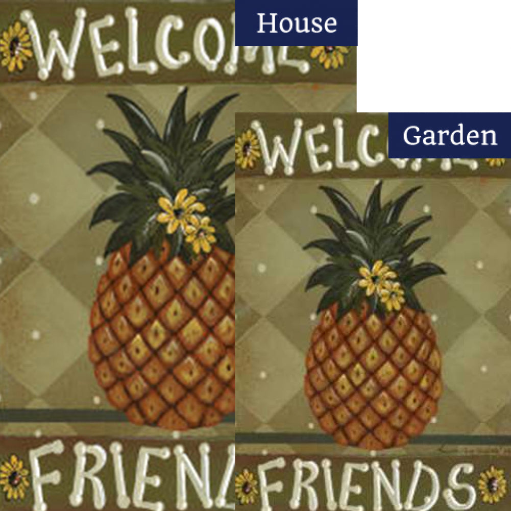 Welcome Friends Pineapple Flags Set (2 Pieces)