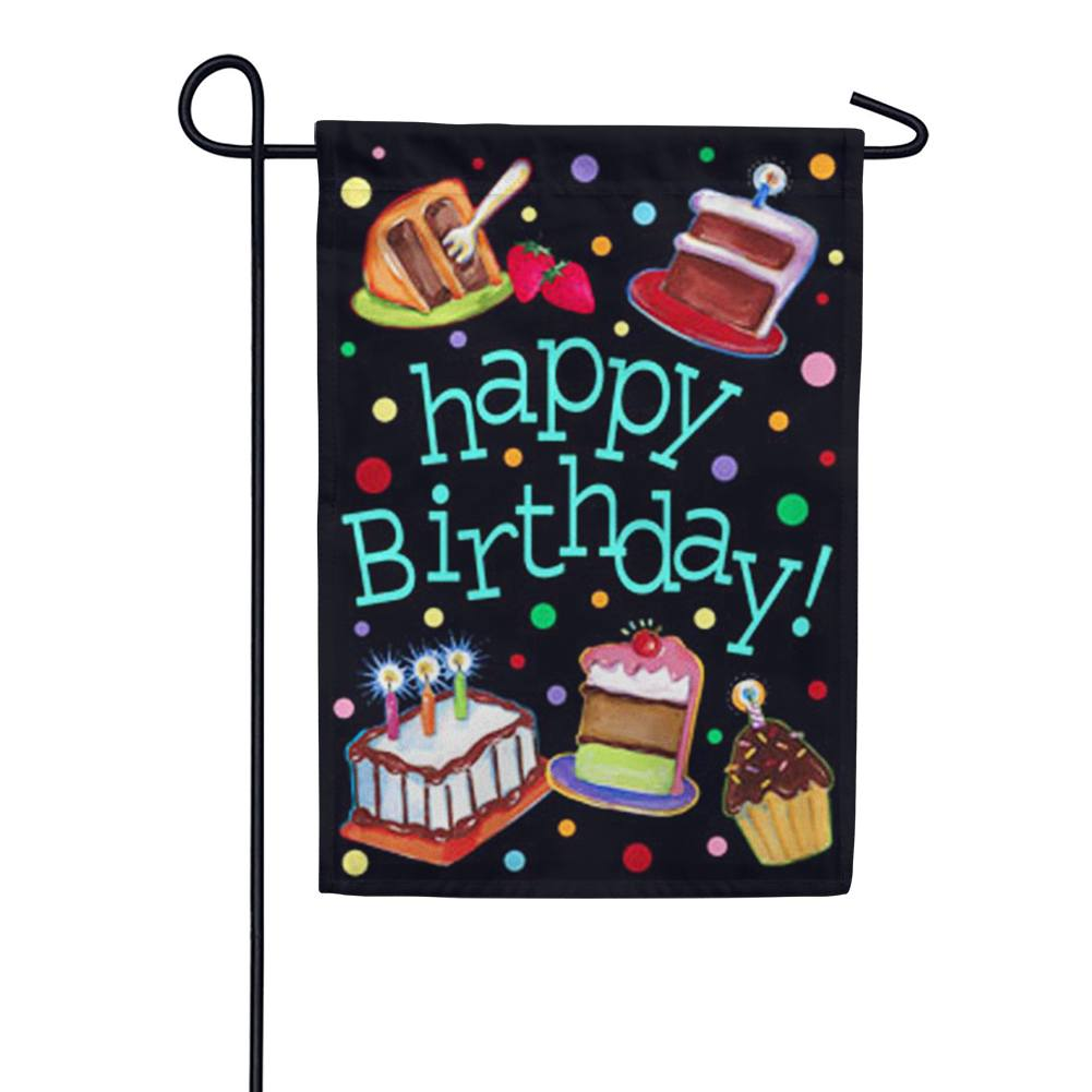 Happy Birthday Cake Garden Flag