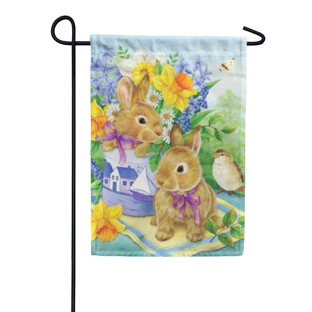 Bunny Bouquet Garden Flag
