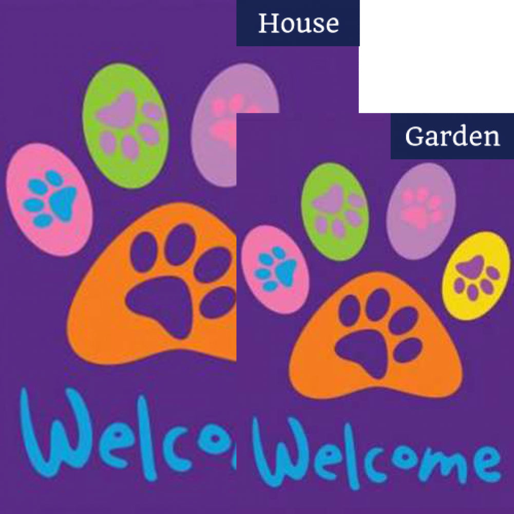 Welcome Paws- Purple Flags Set (2 Pieces)