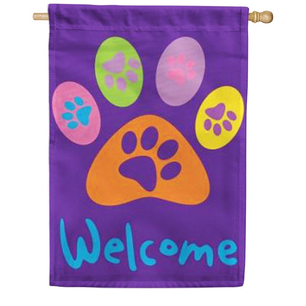 Welcome Paws- Purple House Flag