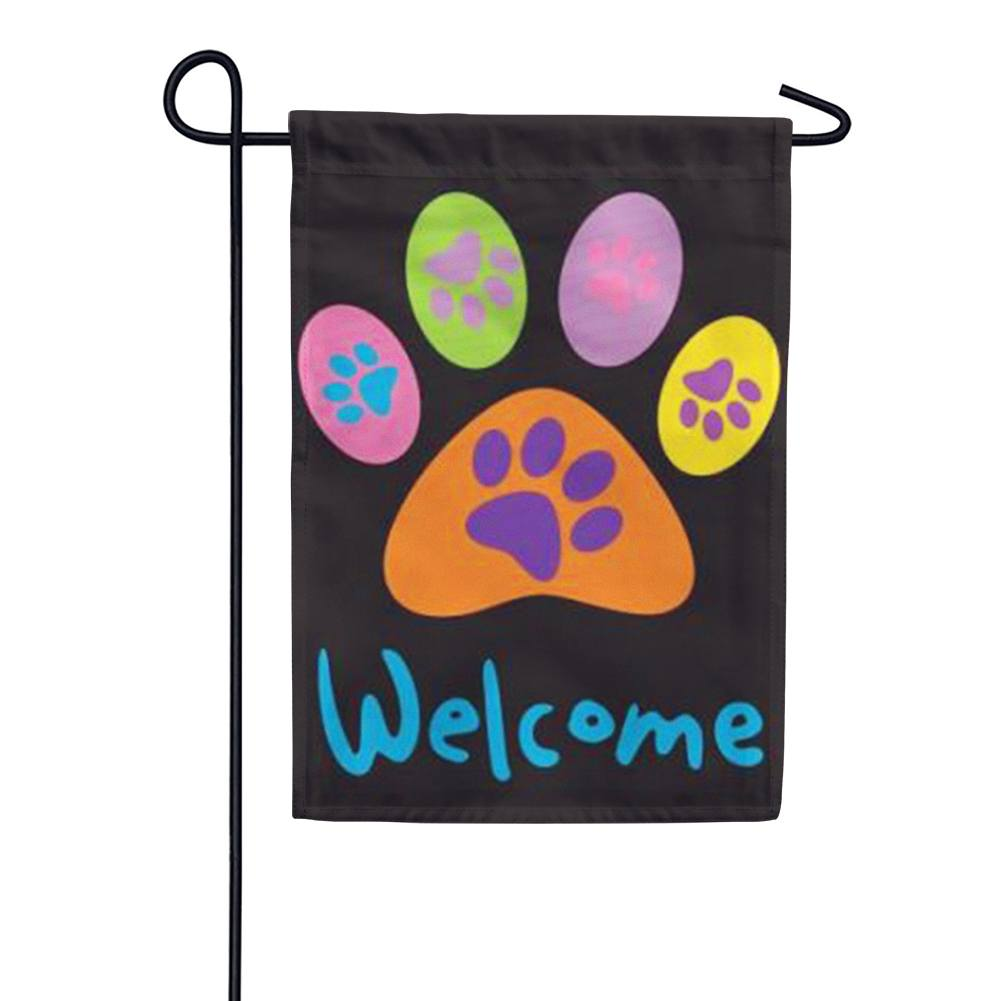 Welcome Paws- Black Garden Flag