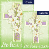Easter Cross He Has Risen Flags Set (2 Pieces)
