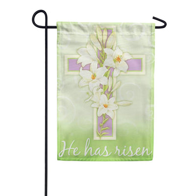 Easter Cross He Has Risen Garden Flag
