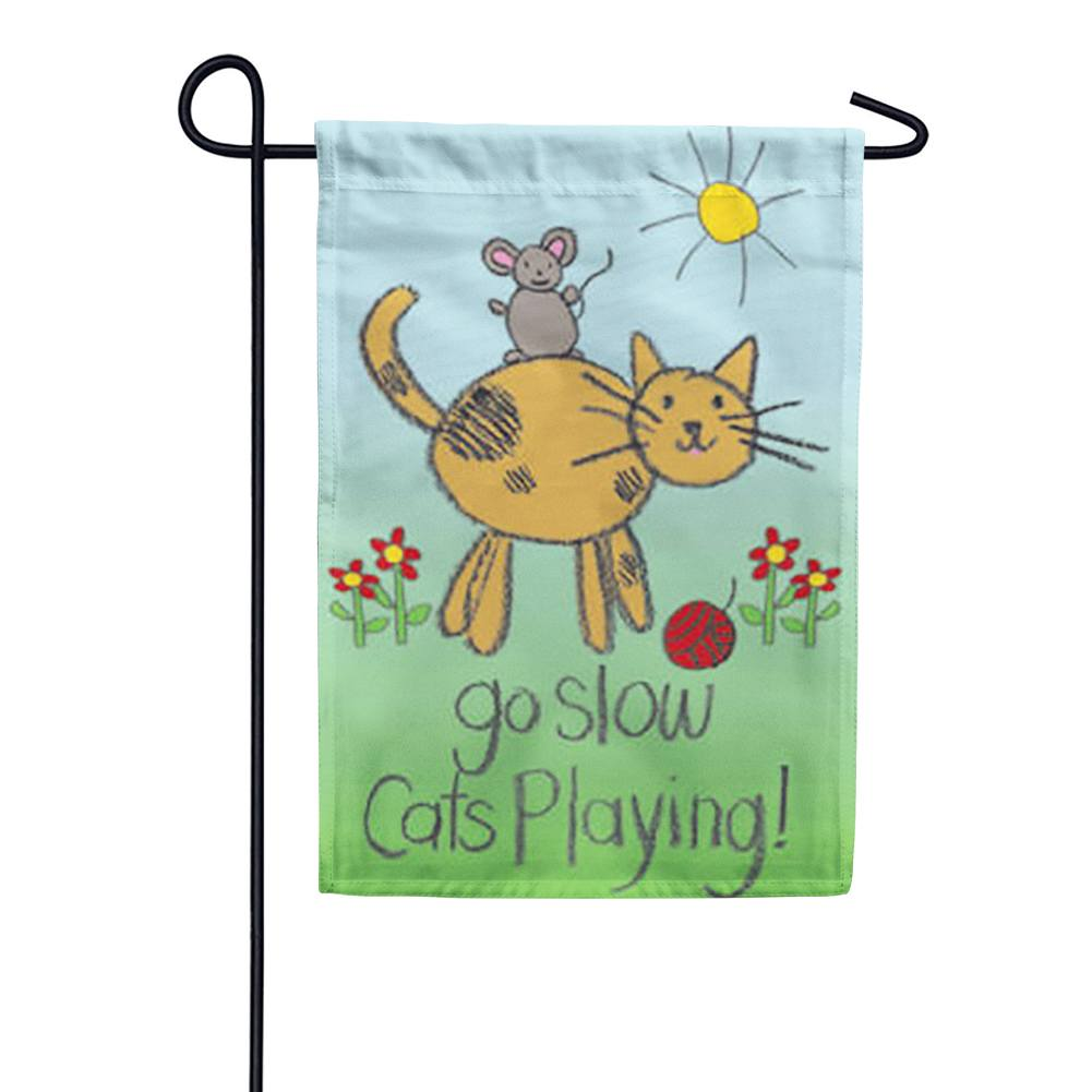 Cats Playing Garden Flag