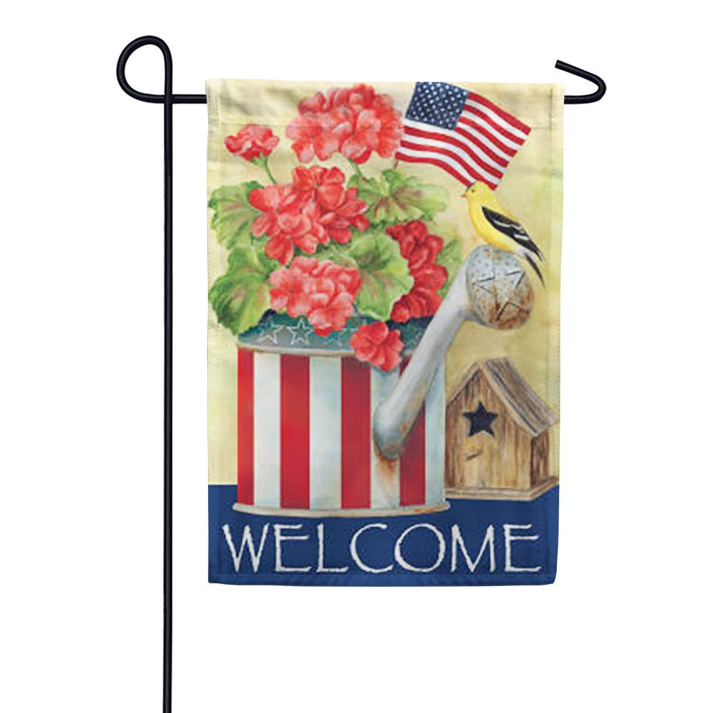 Patriotic Watering Can Garden Flag