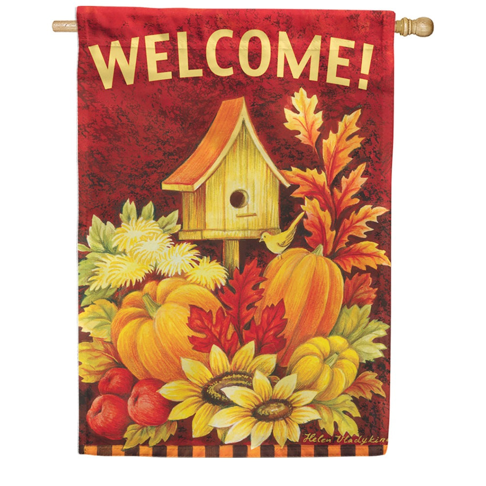 Fall Birdhouse Toland House Flag