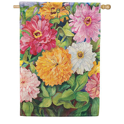 Vibrant Zinnias House Flag