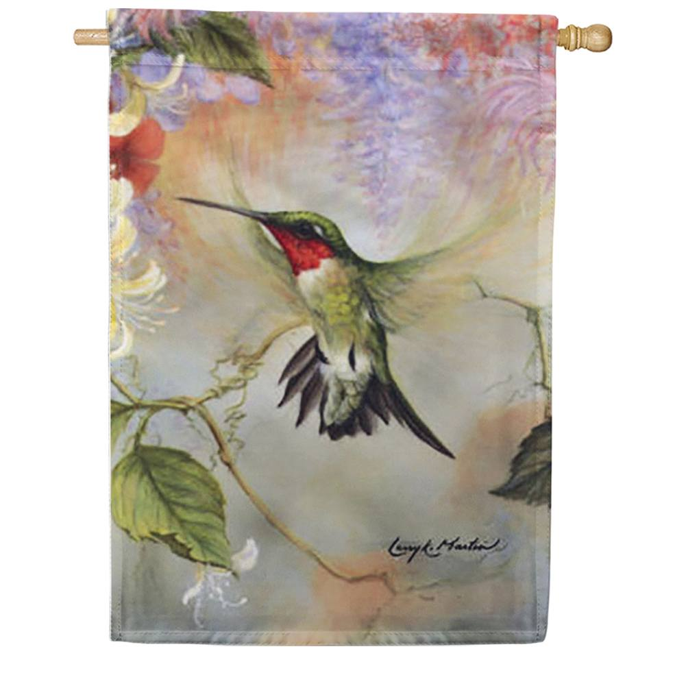 Ruby Throated Honey Hummingbird House Flag