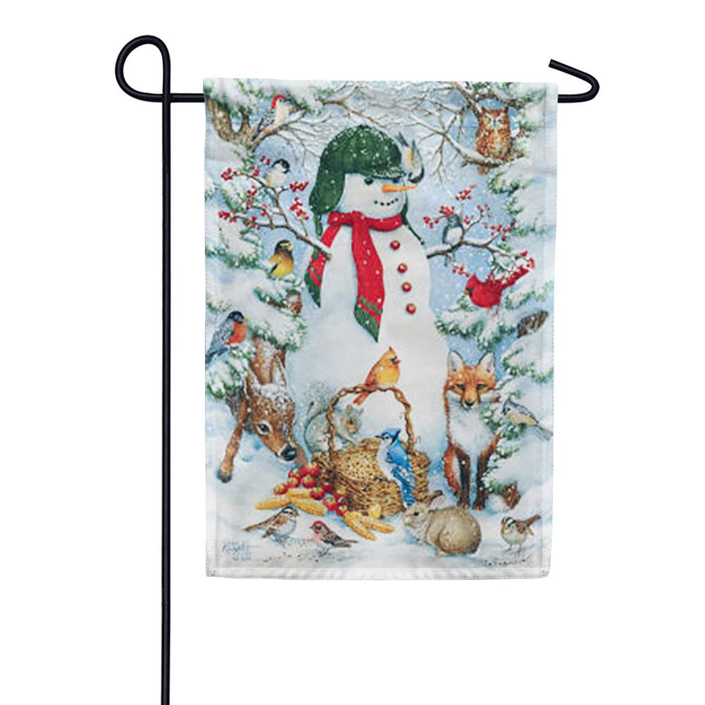 Woodland Snowman Birds Garden Flag