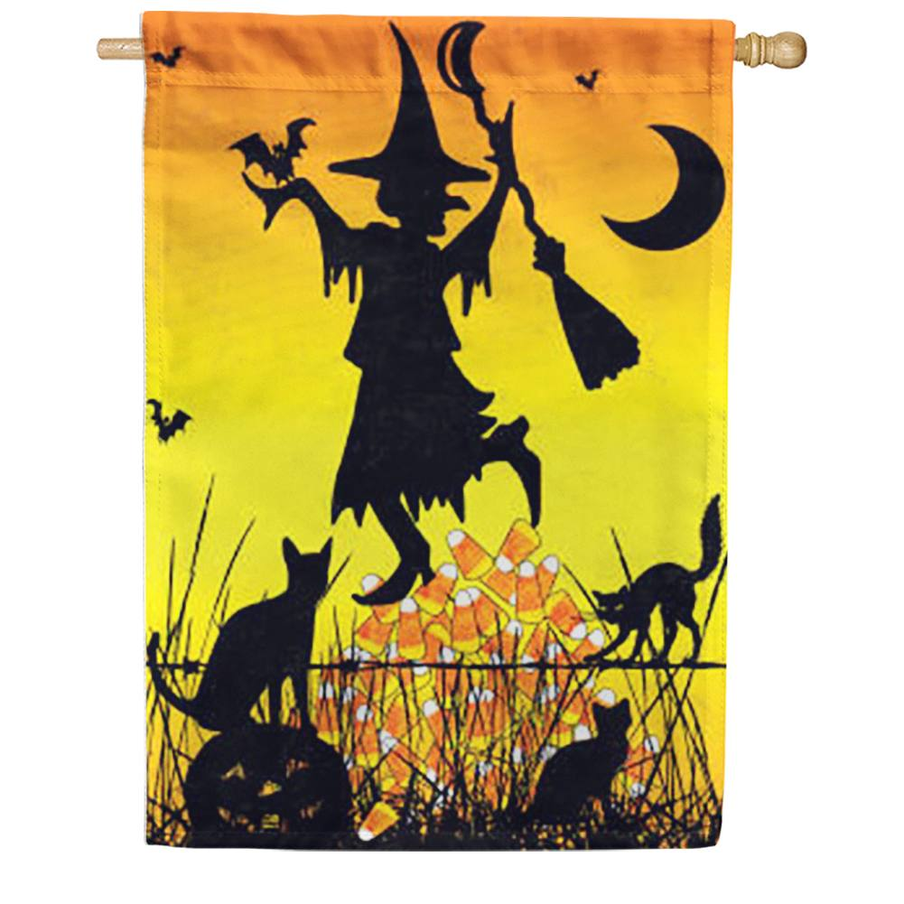 Candy Corn Witch House Flag